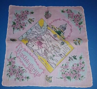 Vintage State of Washington Souvenir Hankie Charming Handkerchief Pink Yellow