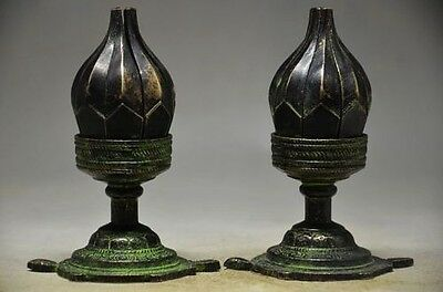 A pair of rare Chinese copper telescopic lotus statue d02