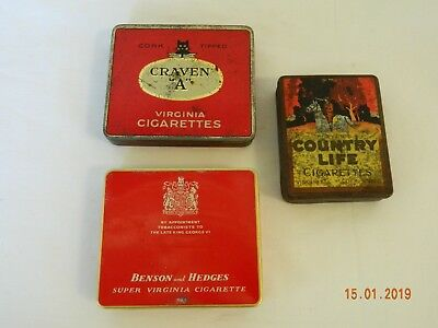 Vintage Cigarette Tins Craven A Benson and Hedges Country Life