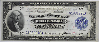 1918 $1 Federal Reserve National Currency Bank Note CHICAGO ILLINOIS Fr. 727