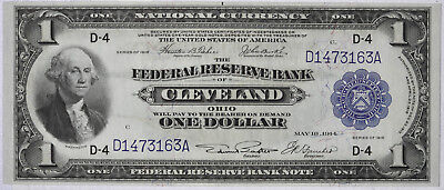 1918 $1 Federal Reserve National Currency Bank Note CLEVELAND OHIO Fr. 718