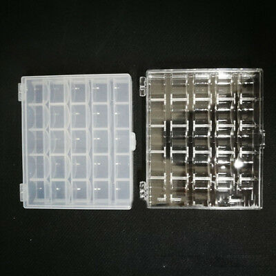 25 Spools + Bobbins Case Organiser Sewing Machine Bobbin Storage Clear Box Newly
