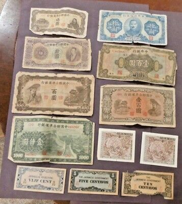 Vintage China and Japan Paper Money Currency