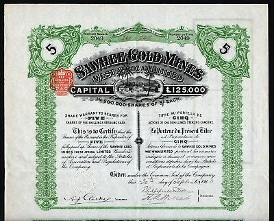 1910 Africa: Sawhee Gold Mines (West Africa) Limited