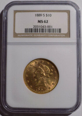 1889-S $10 Liberty Head Eagle gold coin NGC MS 62