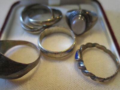 Silver (sterling/marked/hallmarked) job lot x 5. Collect /wear scrap Ref: J21
