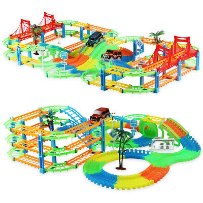 Magic Race Track With LED Race Cars Glow In The Dark Tracks 2in1 railway toy
