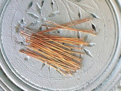 Rose Gold Plated 45 mm long 20 gauge Flat Head Pins Pack of 30 Earring findings