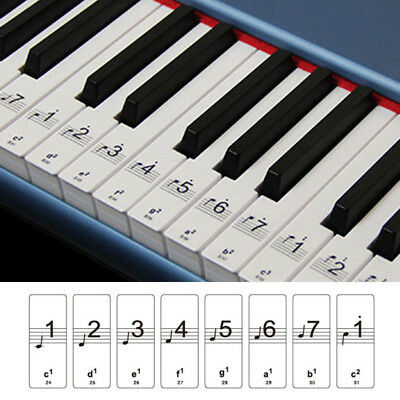 Music Keyboard Or Piano Stickers 88 KEY SET Removable White LAMINATED Stickers