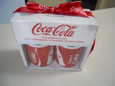 "Coke Mugs ""Share a coke You & Me"" Set of 2  Cranberry & Orange Crunchy Bars NIB"