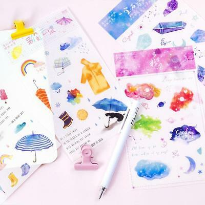 2Pcs Colorful Crystal PVC Stickers Scrapbooking DIY Diary Stationery Decor HQ