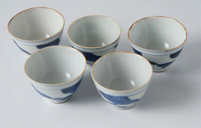 EB15 Chinese Antique Qing Dynasty Blue And White Porcelain Tea Cups Set of Five