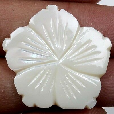 20.0 Cts Classic WHITE MOTHER OF PEARL Flower Carving Gemstone 30x29 mm  S-22204