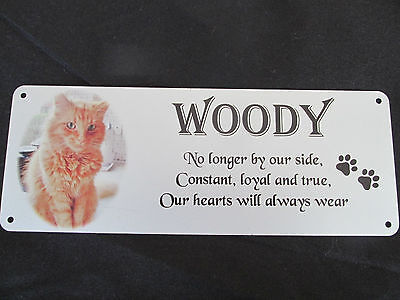 Pet memorial bench plaque for Cats with photo, Aluminium, metal, rememberance