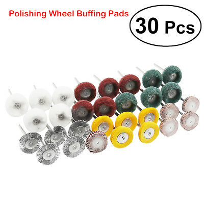30x Polishing Mop Buffing Wheel Polish Brush Pad Set For Dremel Rotary Drill Bit