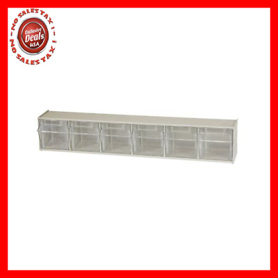 Akro-Mils 06706 TiltView Horizontal Plastic Storage System with Six Tilt Out by