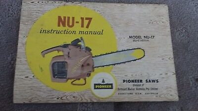 original 1962 Pioneer NU-17 chainsaw owners manual