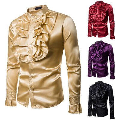 Mens 70s Frill Ruffle Stand Collar Shirt Fancy Dress Party Formal Baquet Costume