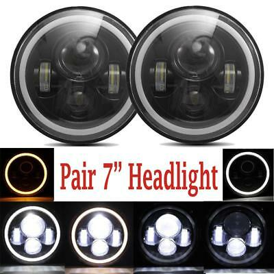 2X 7Inch Round 150W Total CREE LED Headlight Hi/Lo For JEEP JK TJ LJ Wrangler
