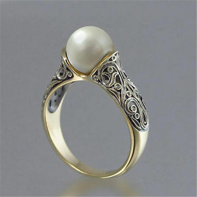 Fashion Wedding Ring for Women 18k Yellow Gold Plated White Pearl Ring Size 6-10