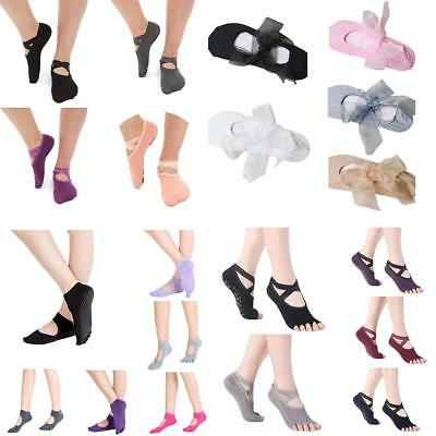 Women Yoga Fitness Non-Slip Skid Ballet Dance Socks Toeless Backless Solid UK DQ