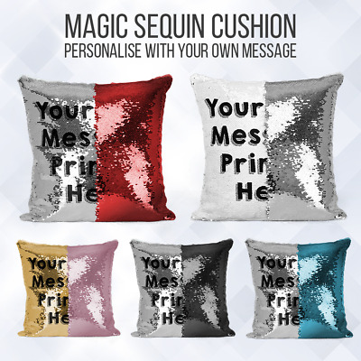 Personalised Sequin Cushion   Magic Mermiad Text Reveal   Pillow Case & Insert