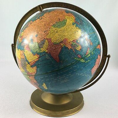 Vintage Crams Imperial 12 Inch World Globe with Metal Base USSR