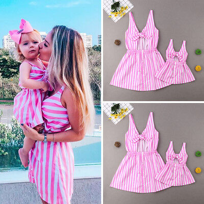 UK Stock Family Matching Dresses  Mother Daughter Sleeveless Stripe Bow Clothes