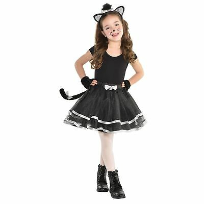 Kids Girls Cat Tutu Kit Costume Kitty Book Week Day Fancy Dress Childs Outfit