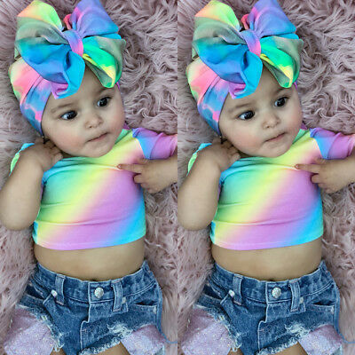 US Newborn Toddler Kids Baby Girl Rainbow Tops Denim Shorts 3PCS Outfits Sunsuit
