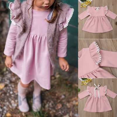 Cute Toddler Kid Baby Girl Long Sleeve Party Princess Solid Pageant Short Dress