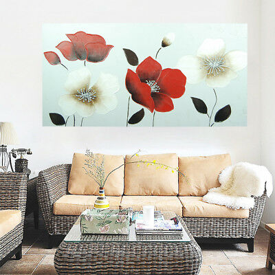 Hand-Painted Art Canvas Oil Painting Abstract Home Decor Framed - Poppy Flowers