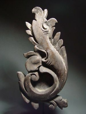 A KHMER FLORAL 'KBACH RACHANA' RELIEF ELEMENT. TEAKWOOD. 18/19th C.