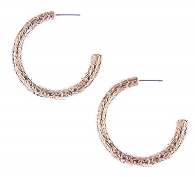 Blush & Co. Rose Gold Hoop Earrings: Hammered Dangle earings for Women Fashion