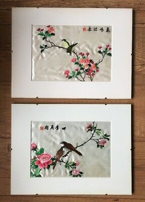 Pair Of Vintage Oriental Silk Embroidery Pictures, Birds, Flowers, Chinese