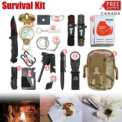 18-in-1 Survival Kit Emergency Tactical RECON Outdoor Camp Hiking Gear Tools CA