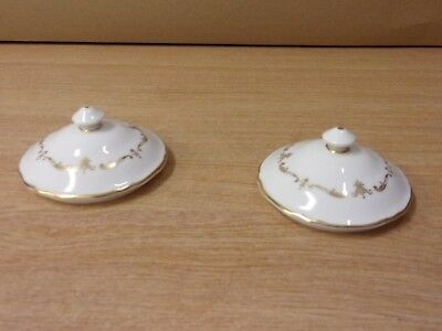 Royal Worcester China Gold Chantilly Lids for Two handled Bowls x2 Soup Dessert
