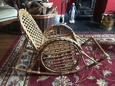 Antique Rattan and Bamboo Child's Rocking Chair