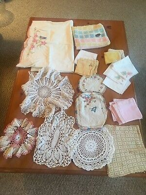 Vintage Lot Of Crochet Doilies, Napkins And More 26 Pieces.