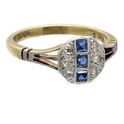 Vintage Art Deco Style Sapphire & Diamond Cluster Ring | Free Shipping