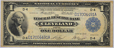 1918 $1 Federal Reserve National Currency Bank Note CLEVELAND OHIO Fr. 719