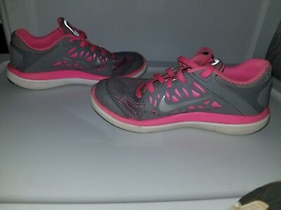 dfff6ffca17 Nike Girls Youth Flex 2016 Run Athletic Running Shoes Size 1Y  Pink gray silver