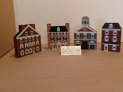 "Lot of 4 ,Faline, ""Cat's Meow Village"",1988, Philadelphia Christmas Series."