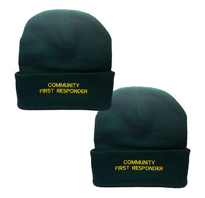 2 x Community First Responder Green Woolly Hat - Paramedic Medic Ambulance