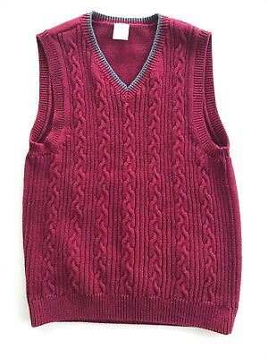 GYMBOREE Boy's Sweater Vest Size 8  Dark Red with Grey