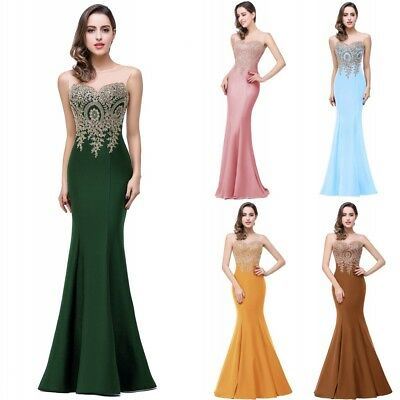 New Long Evening Formal Party Dress Prom Ball Gown Bridesmaid Mermaid Applique