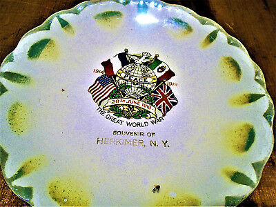 "Antique Souvenir Ww 1 Plate, Herkimer, Ny ""the Great World War"""
