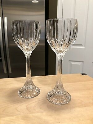 Pair Mikasa Crystal PARK LANE Wine Hock Stems Glasses