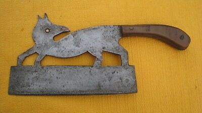 OUTIL ANCIEN  COUPERET HACHOIR ZOOMORPHE OLD BUTCHER KNIFE fox AXE TOOL