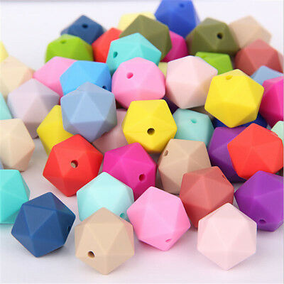 10Pcs/Set Hexagon Silicone Baby Teether Necklace Infant Teething Molar Beads Toy